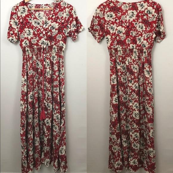 ac024e40a14f Dresses | Red Floral Button Up Flowy Summer Maxi Dress Sz M | Poshmark